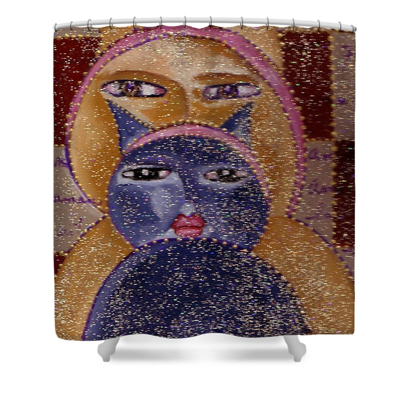 Art Picasso Cats Shower Curtain featuring the painting Art Picasso Cats by Pikotine Art