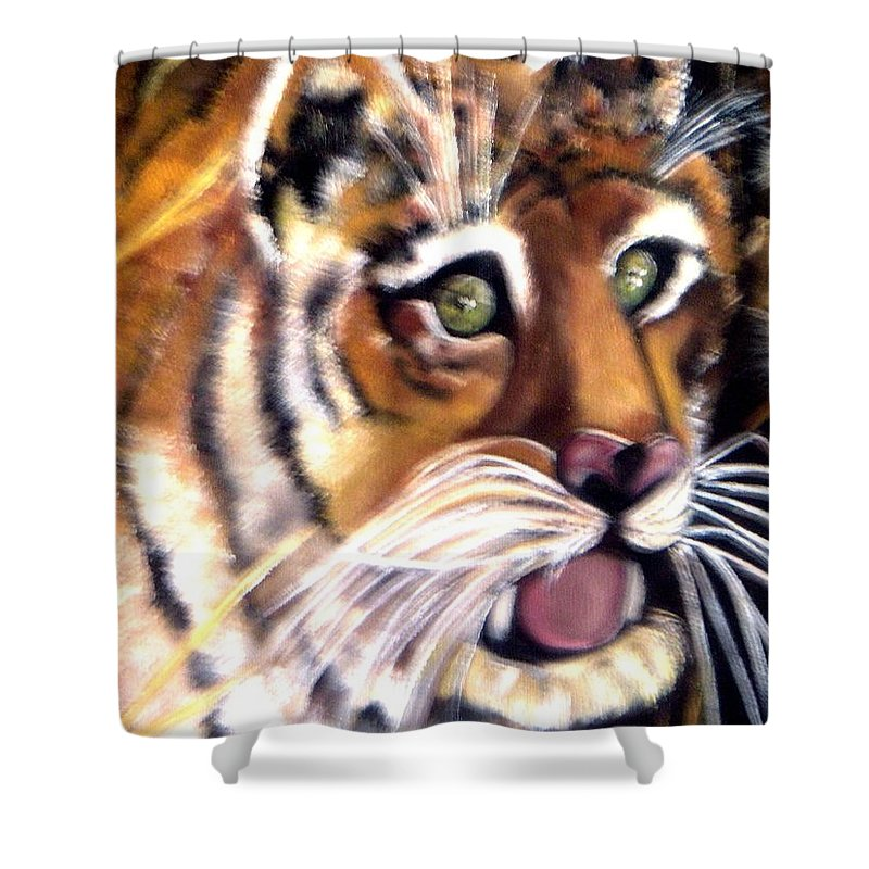Art Tiger Shower Curtain featuring the painting Tiger Art by Pikotine Art