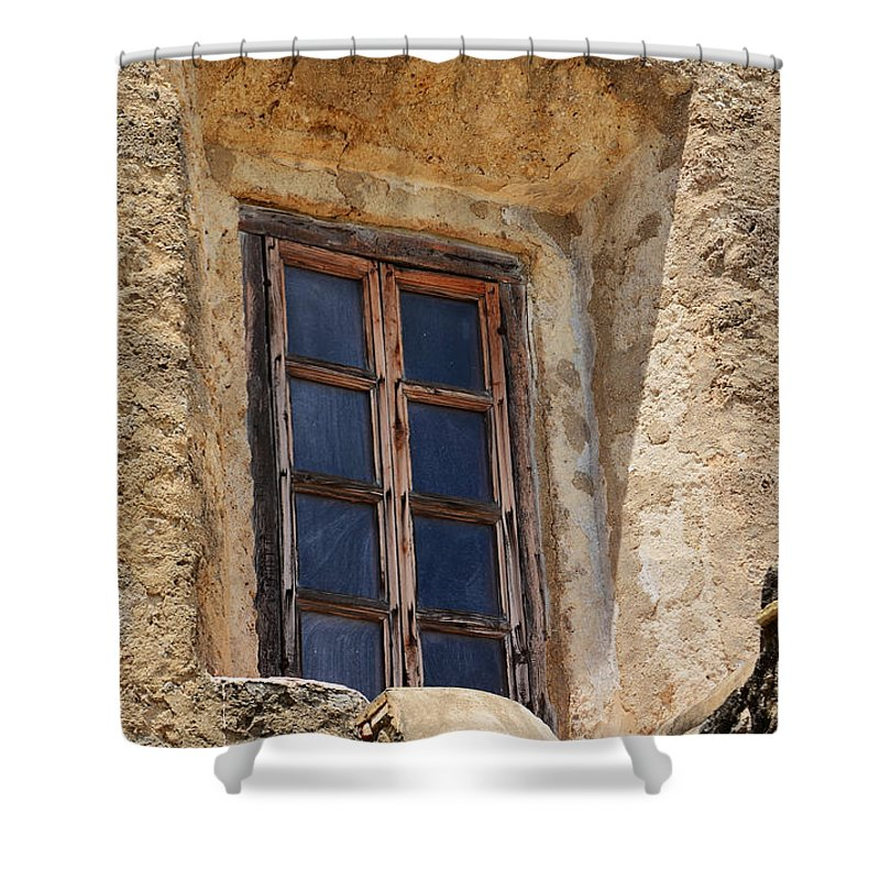 San Antonio Shower Curtain featuring the photograph Artful Window At Mission San Jose In San Antonio Missions National Historical Park by Shawn O'Brien