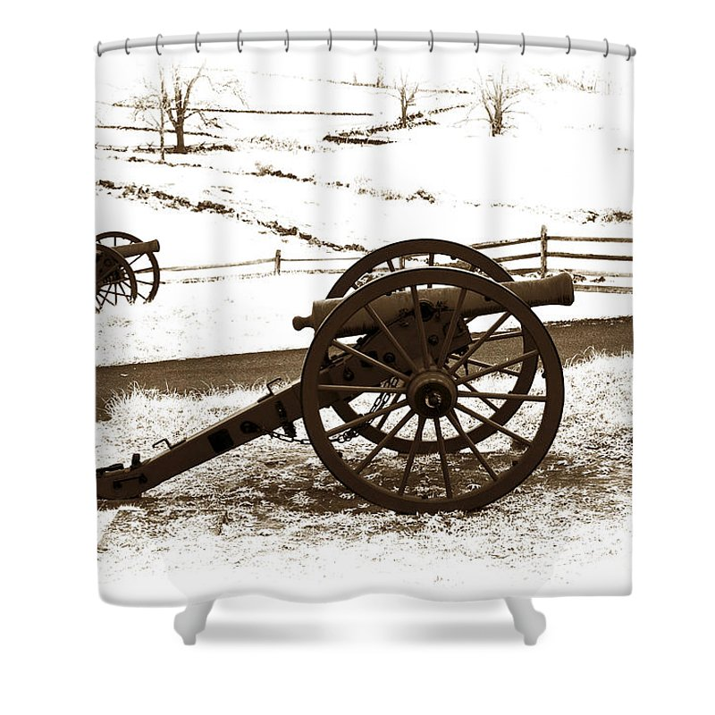 Infrared Shower Curtain featuring the photograph Artillery Positions - Toned by Paul W Faust - Impressions of Light
