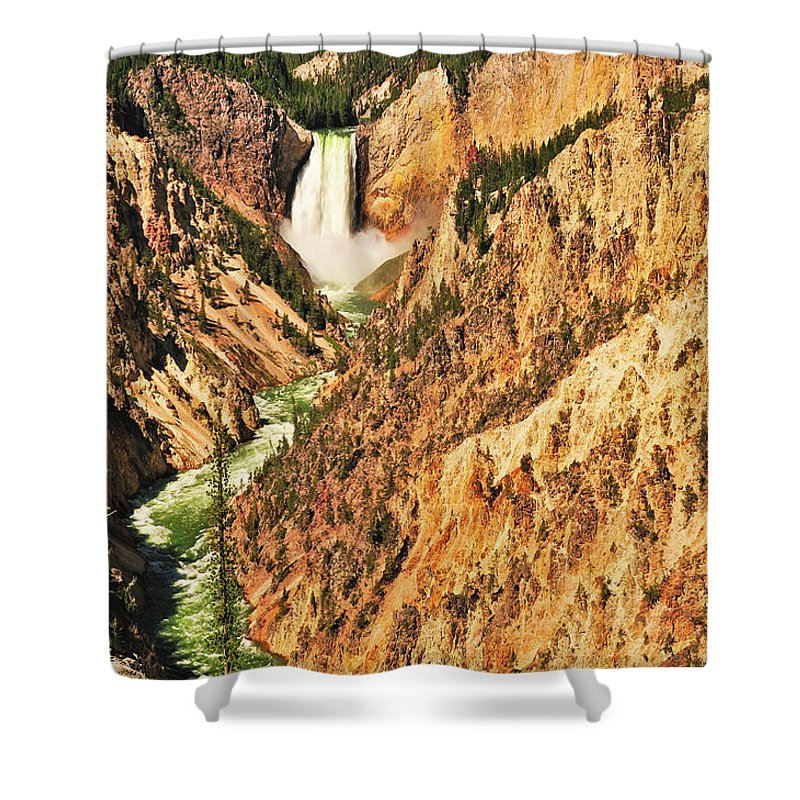 Yellowstone National Park Shower Curtain featuring the photograph Artist Point View by Greg Norrell