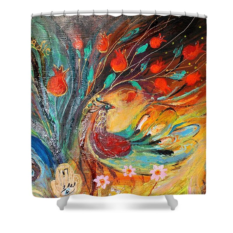 Jewish Art Prints Shower Curtain featuring the painting Artwork Fragment 05 by Elena Kotliarker