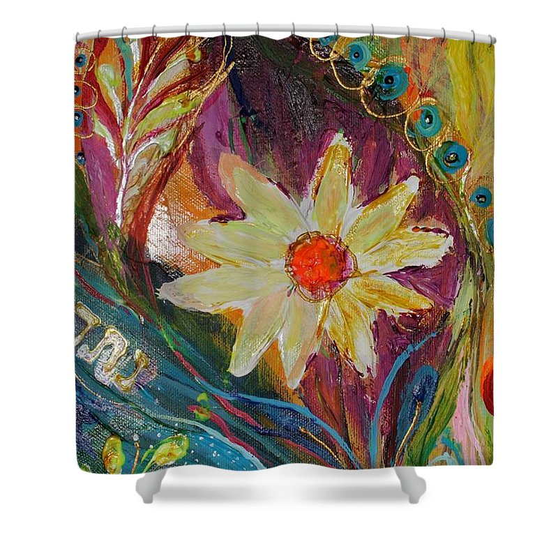 Jewish Art Prints Shower Curtain featuring the painting Artwork Fragment 66 by Elena Kotliarker
