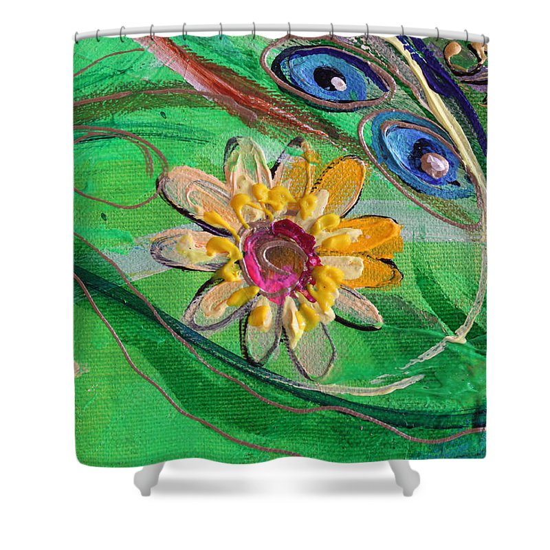 Jewish Art Prints Shower Curtain featuring the painting Artwork Fragment 67 by Elena Kotliarker
