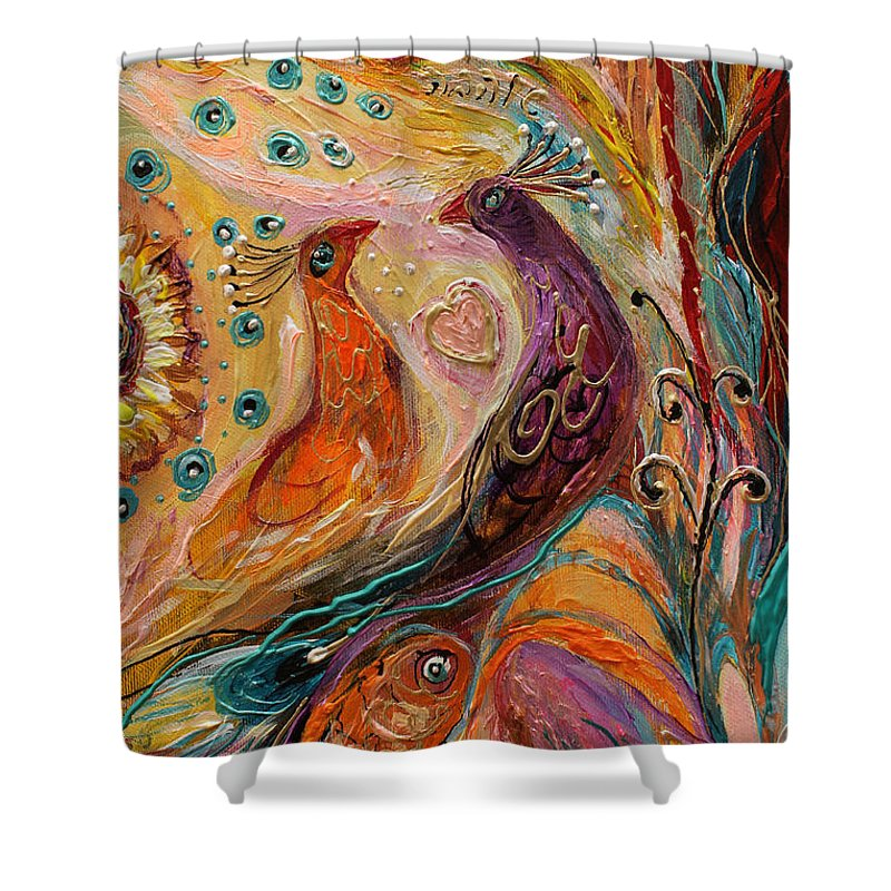 Jewish Art Prints Shower Curtain featuring the painting Artwork Fragment 69 by Elena Kotliarker