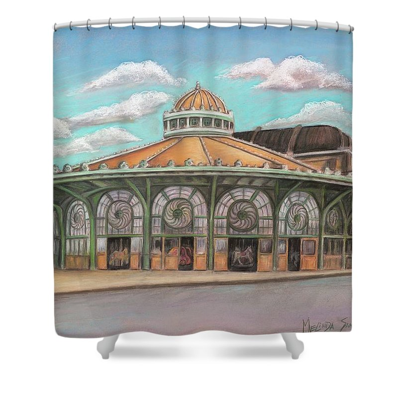 Carousel House Shower Curtain featuring the painting Asbury Park Carousel House by Melinda Saminski