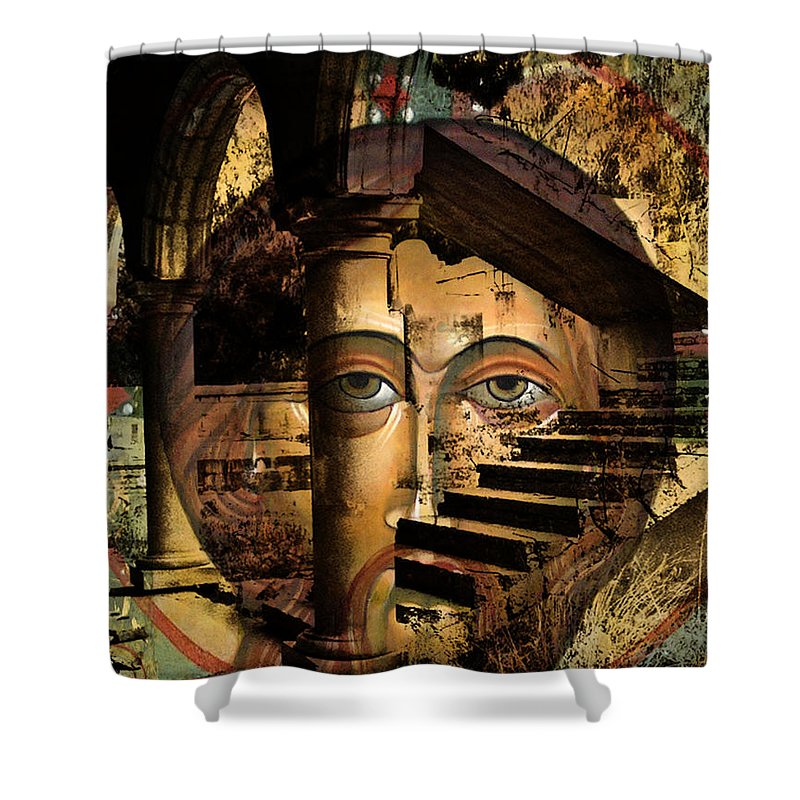 Mary Jane Miller Icons Shower Curtain featuring the digital art Ascending by Mary Jane Miller