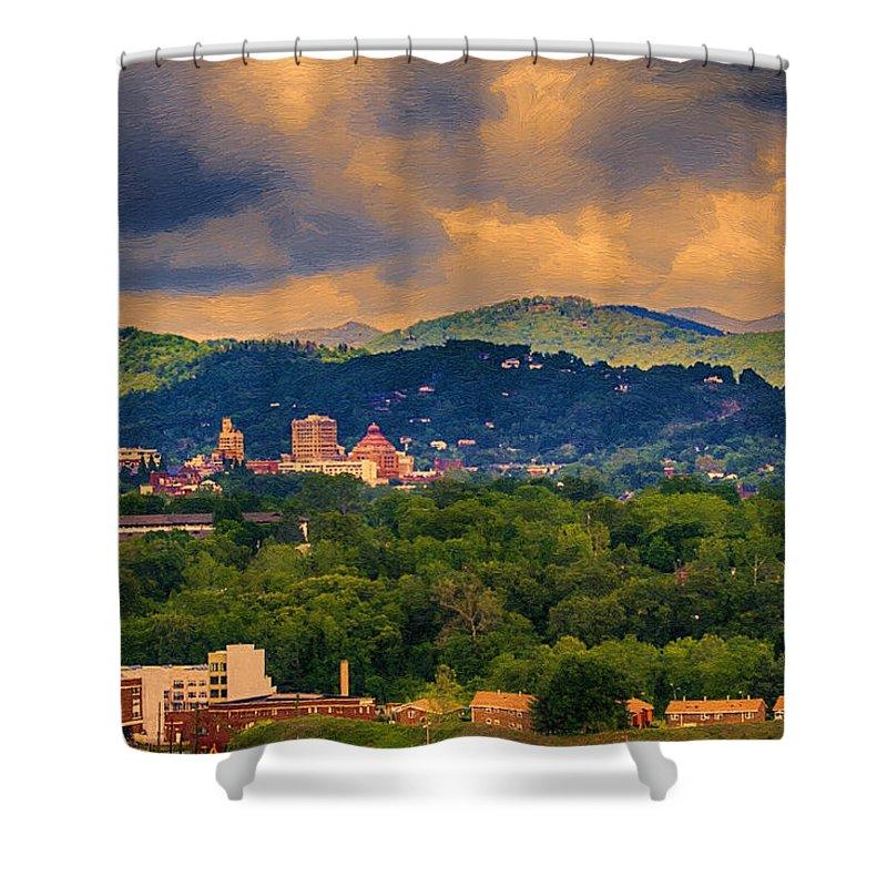 Asheville Shower Curtain featuring the painting Asheville North Carolina by John Haldane