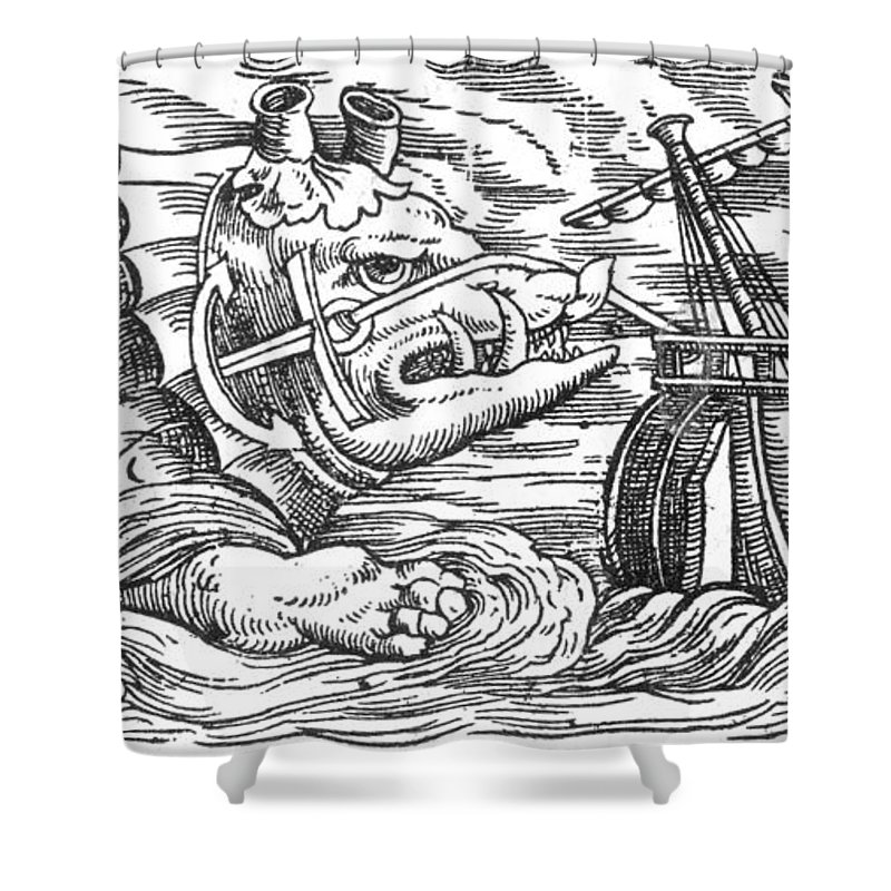 History Shower Curtain Featuring The Photograph Aspidochelone Legendary Sea Monster By Photo Researchers