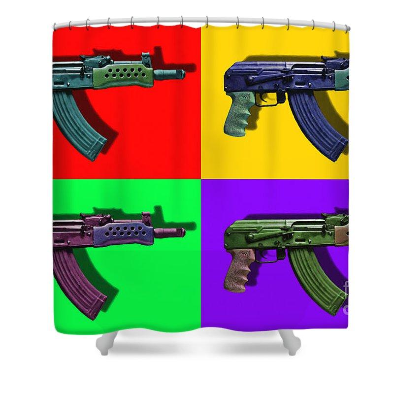 Gun Shower Curtain featuring the photograph Assault Rifle Pop Art Four - 20130120 by Wingsdomain Art and Photography
