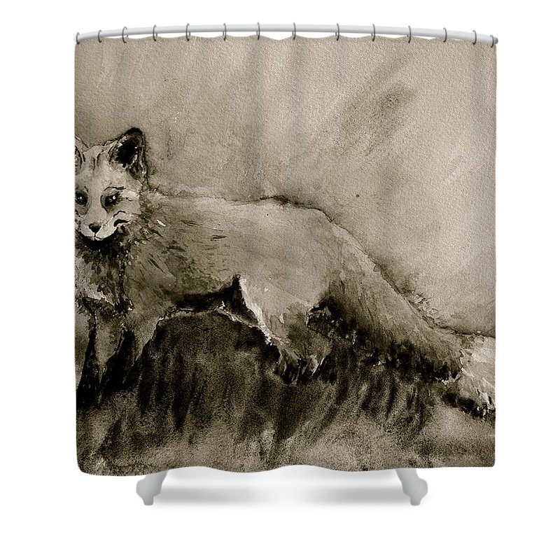 Fox Shower Curtain featuring the painting Assessing The Situation Black And White by Beverley Harper Tinsley