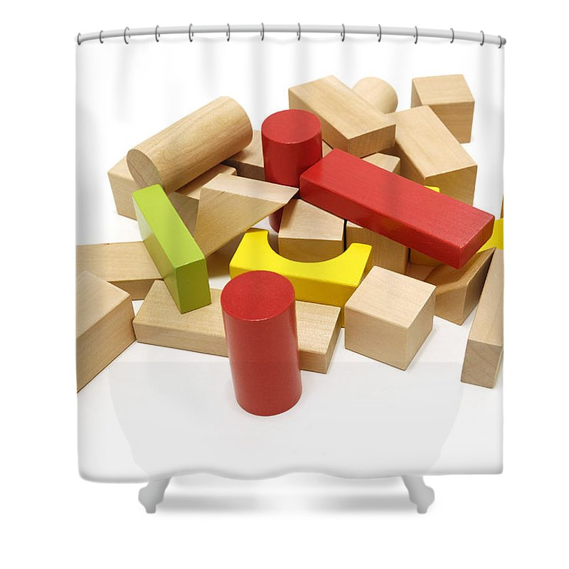 Building+blocks Shower Curtain featuring the photograph Assorted Building Blocks by Charles Beeler