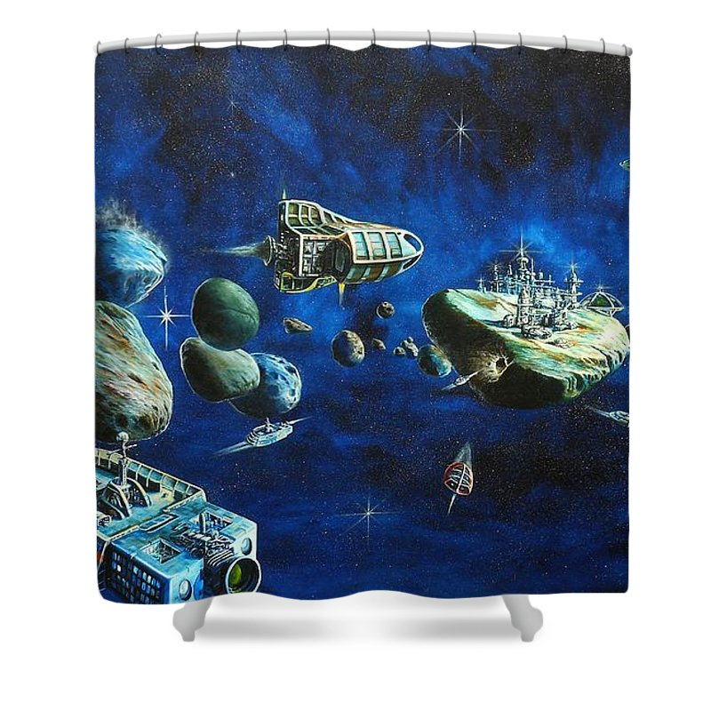Fantasy Shower Curtain featuring the painting Asteroid City by Murphy Elliott