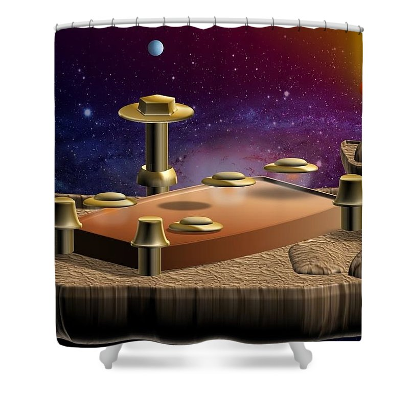 Digital Art Shower Curtain featuring the digital art Asteroid Terminal by Cyril Maza
