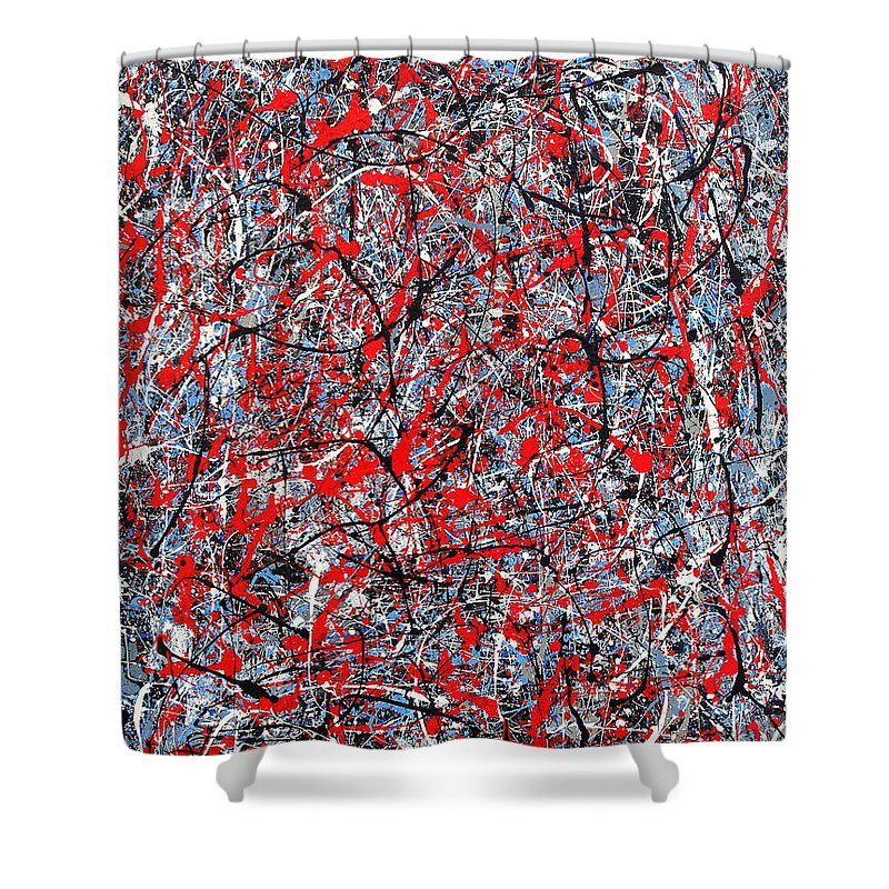 Abstract Shower Curtain featuring the painting Astral Gate 2001 by RalphGM