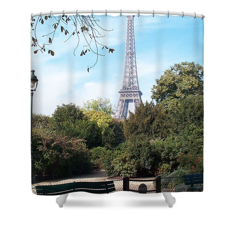 Eiffel Tower Shower Curtain featuring the photograph At Last by Barbara McDevitt