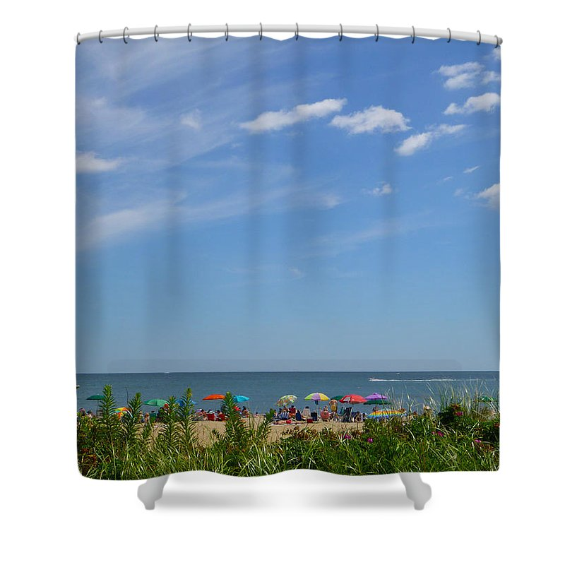 Summer Shower Curtain featuring the photograph At The Beach 2 by Ellen Paull