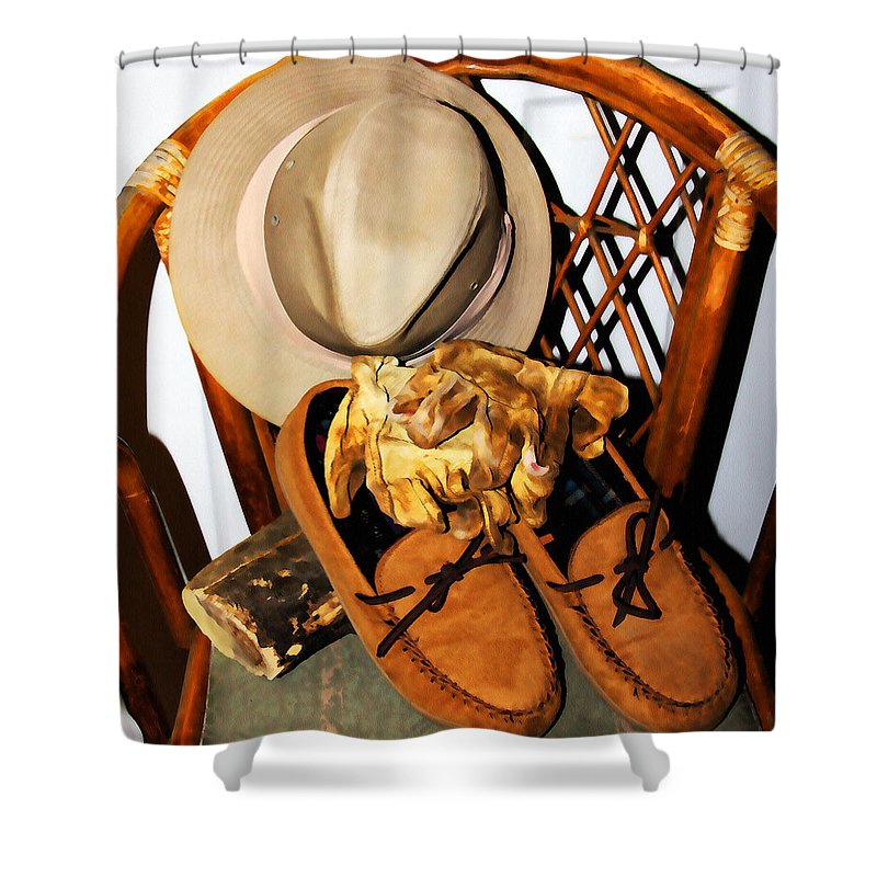 Work Clothes Shower Curtain featuring the painting At The End Of The Day by Jennifer Muller