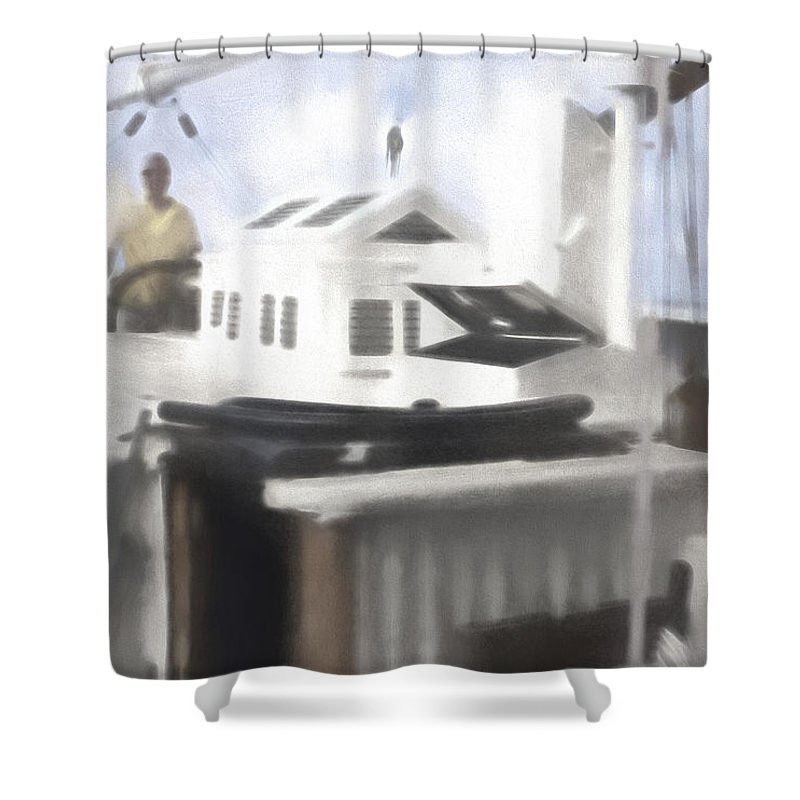 Helm Shower Curtain featuring the digital art At The Helm by Cathy Anderson