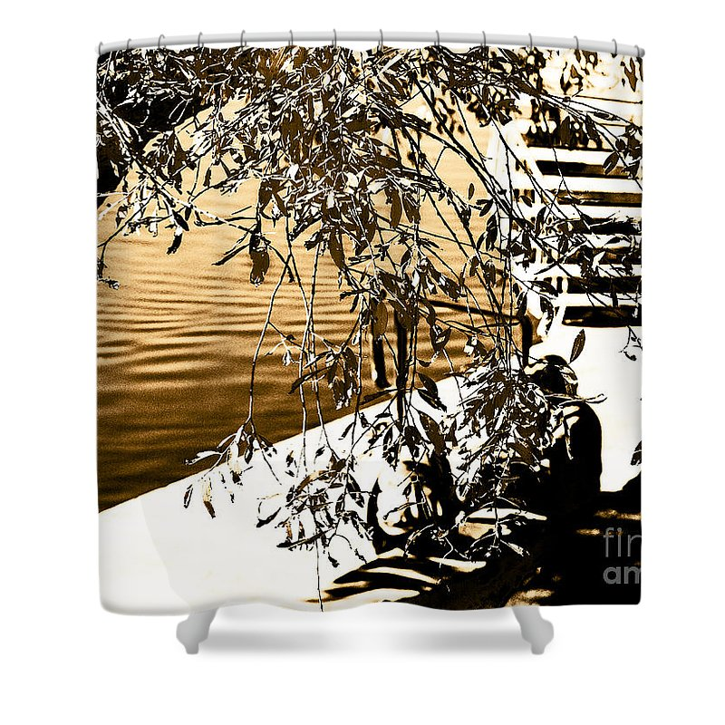 Abstract Digital Art Shower Curtain featuring the photograph At The Lake-44 by David Fabian