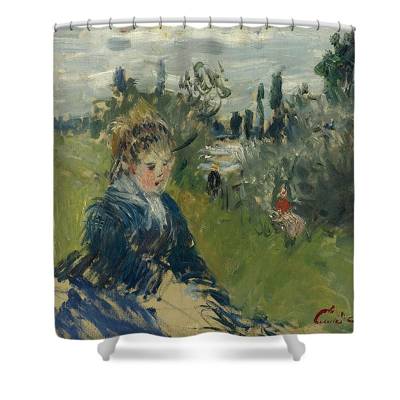Claude Monet Shower Curtain featuring the painting At The Meadow. Vetheuil by Claude Monet