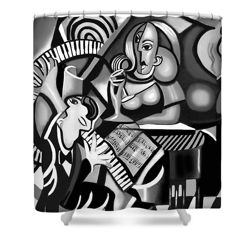 At The Piano Shower Curtain featuring the painting At The Piano Bar by Anthony Falbo
