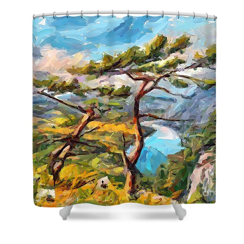 Mountain Shower Curtain featuring the painting At The Top Of The Mountain by Dragica Micki Fortuna