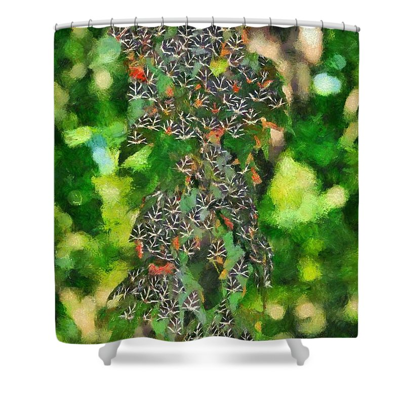 Rhodes Shower Curtain featuring the painting At The Valley Of Butterflies In Rhodes Island by George Atsametakis