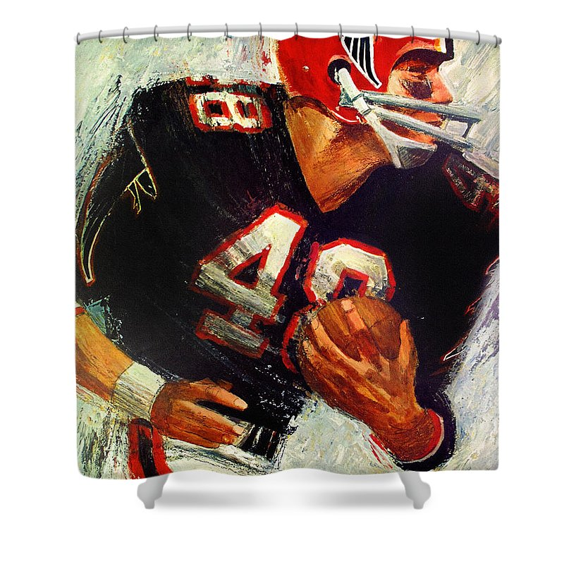 Atlanta Falcons Shower Curtain Featuring The Painting 1966 Vintage Print By John Farr