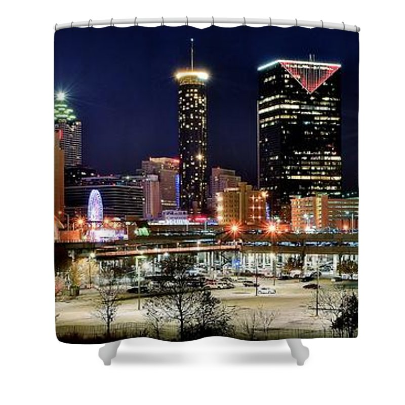 Atlanta Shower Curtain featuring the photograph Atlanta Panoramic View by Frozen in Time Fine Art Photography