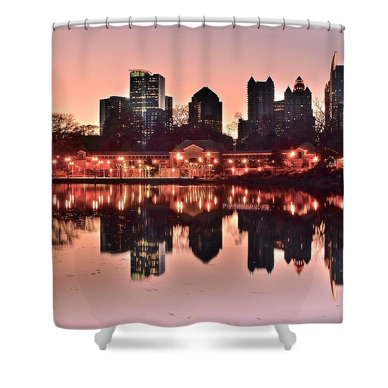 Atlanta Shower Curtain featuring the photograph Atlanta Piedmont Pink by Frozen in Time Fine Art Photography