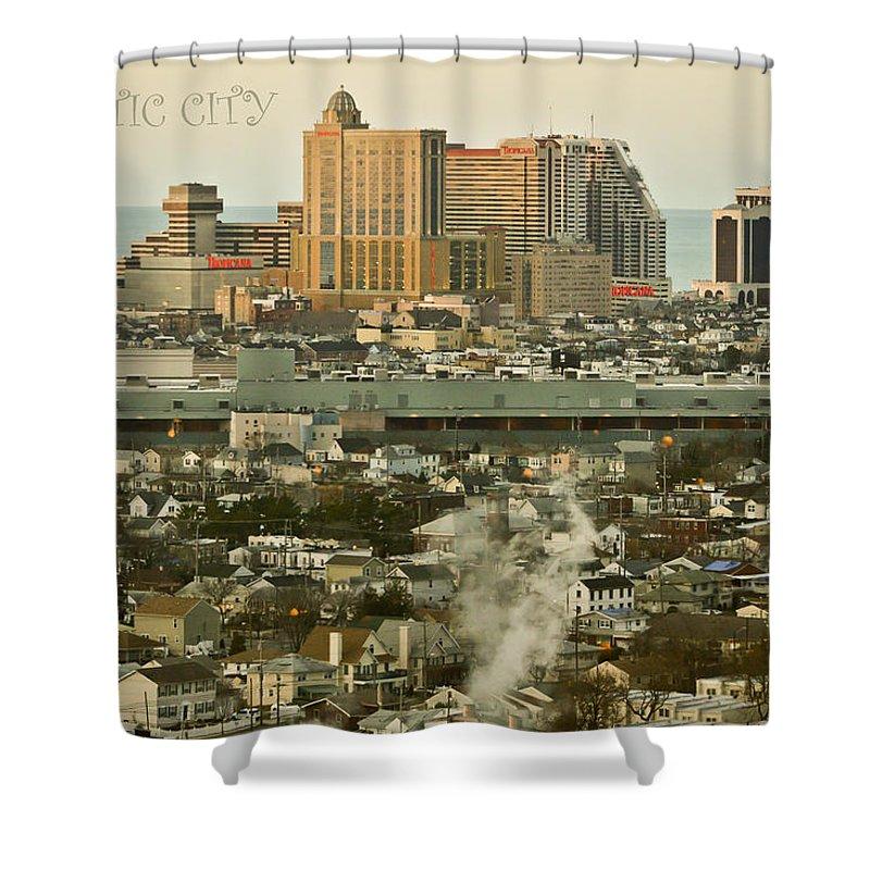 Atlantic City Shower Curtain featuring the mixed media Atlantic City by Trish Tritz