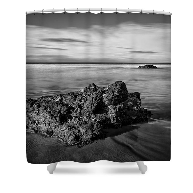 Atlantic Shower Curtain featuring the photograph Downhill - Atlantic Rocks by Nigel R Bell
