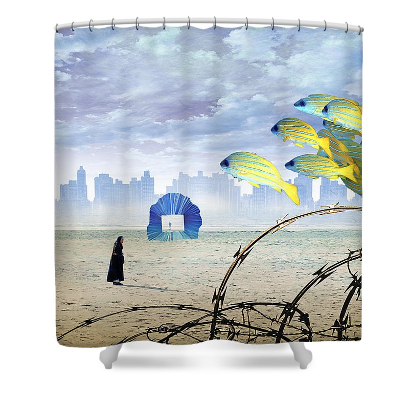 Composite Shower Curtain featuring the digital art Atlantis by Rick Mosher