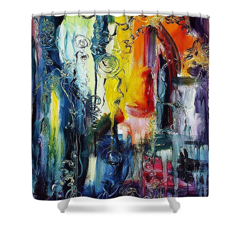 Abstract Shower Curtain featuring the painting Atlantis Sinking by Regina Valluzzi