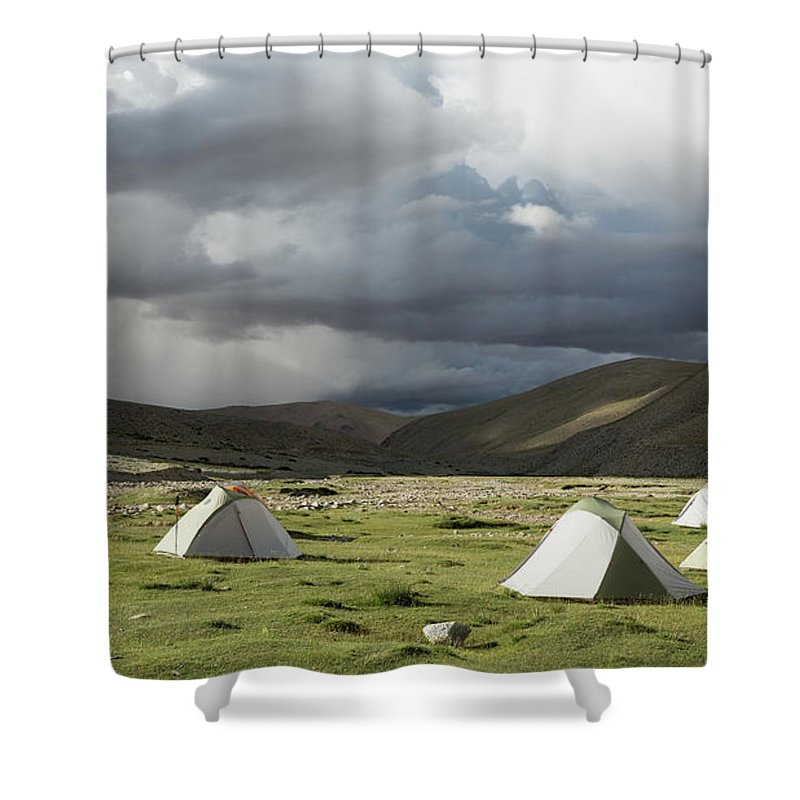 Tranquility Shower Curtain featuring the photograph Atmospheric Grassy Camping by Jamie Mcguinness - Project Himalaya