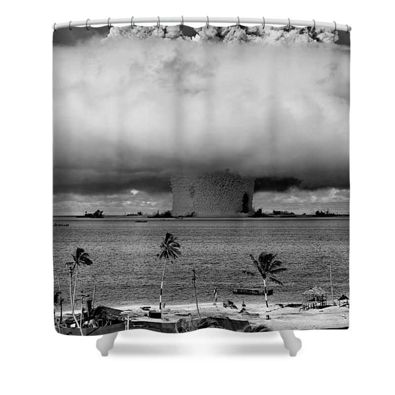 Atomic Shower Curtain featuring the photograph Atomic Bomb Test by Mountain Dreams