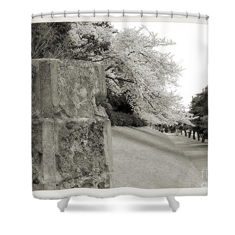 Cherry Shower Curtain featuring the photograph Atsugi Pillbox Walk F by Jay Mann