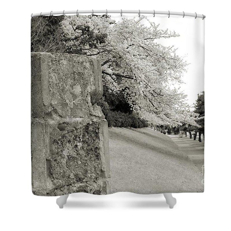 Cherry Shower Curtain featuring the photograph Atsugi Pillbox Walk F1 by Jay Mann
