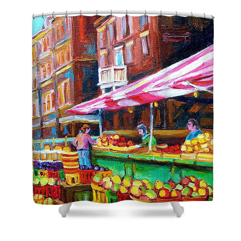 Atwater Market Shower Curtain featuring the painting Atwater Market  by Carole Spandau