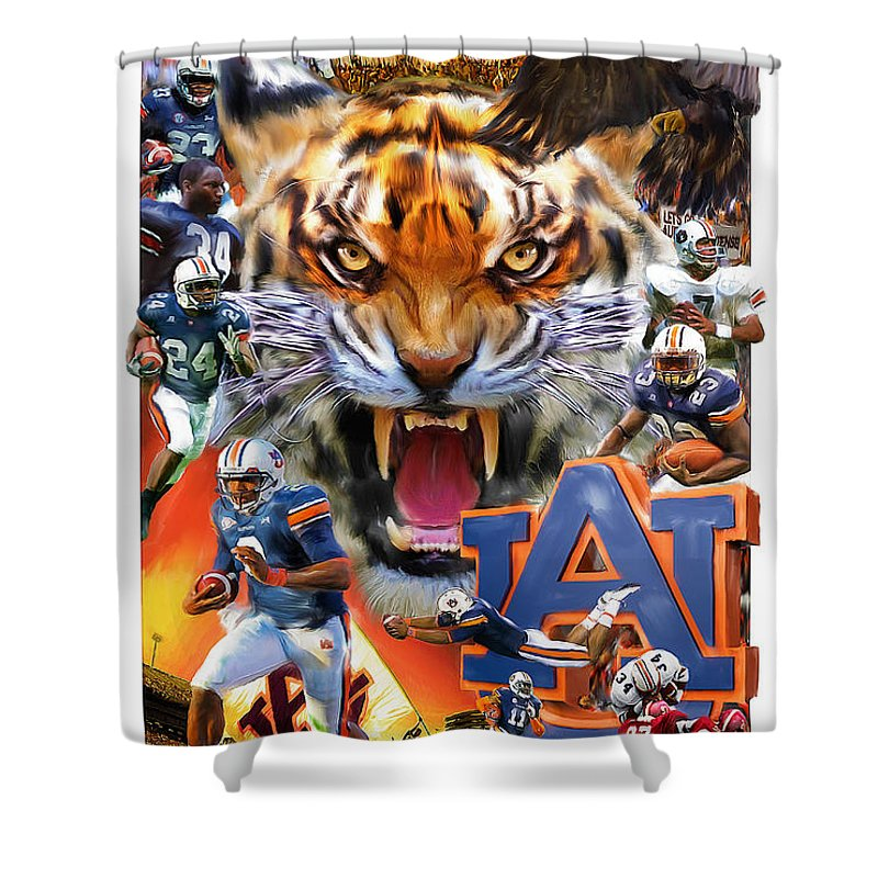 Auburn Shower Curtain Featuring The Mixed Media Tigers By Mark Spears