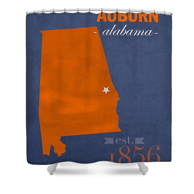 Auburn University Shower Curtain featuring the mixed media Auburn University Tigers Auburn Alabama College Town State Map Poster Series No 016 by Design Turnpike