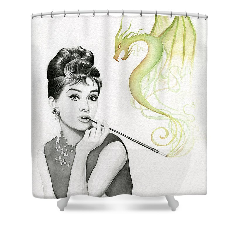 Audrey Shower Curtain featuring the painting Audrey And Her Magic Dragon by Olga Shvartsur