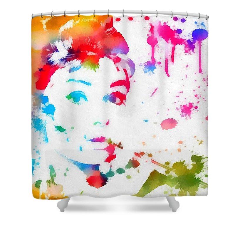 Audrey Hepburn Paint Splatter Shower Curtain featuring the painting Audrey Hepburn Paint Splatter by Dan Sproul