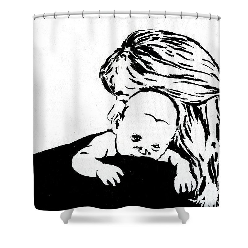Mom Shower Curtain featuring the painting Aunt Jo And Cheychey by Tamir Barkan