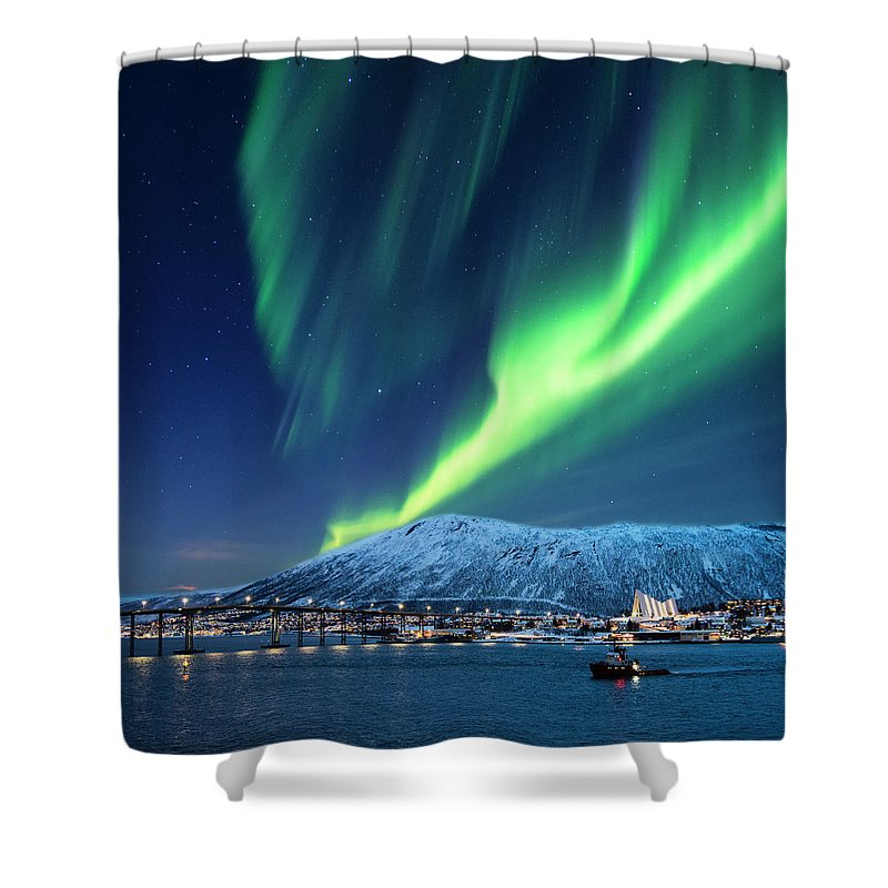 Scenics Shower Curtain featuring the photograph Aurora Borealis Over Tromso Port by Mike Hill
