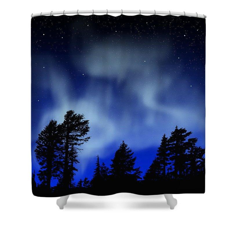 Aurora Borealis Mural Shower Curtain featuring the painting Aurora Borealis Wall Mural by Frank Wilson