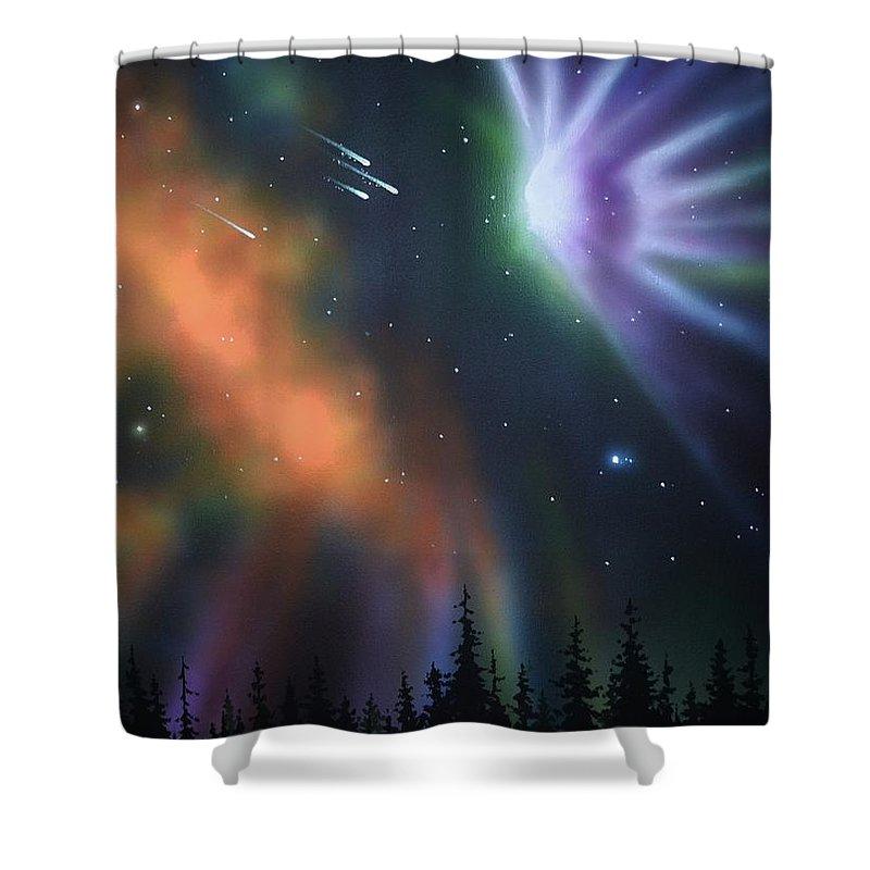 Aurora Borealis Shower Curtain featuring the painting Aurora Borealis with 4 shooting stars by Thomas Kolendra