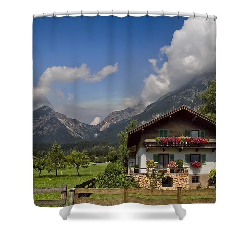 Austria Shower Curtain featuring the photograph Austrian Cottage by Debra and Dave Vanderlaan