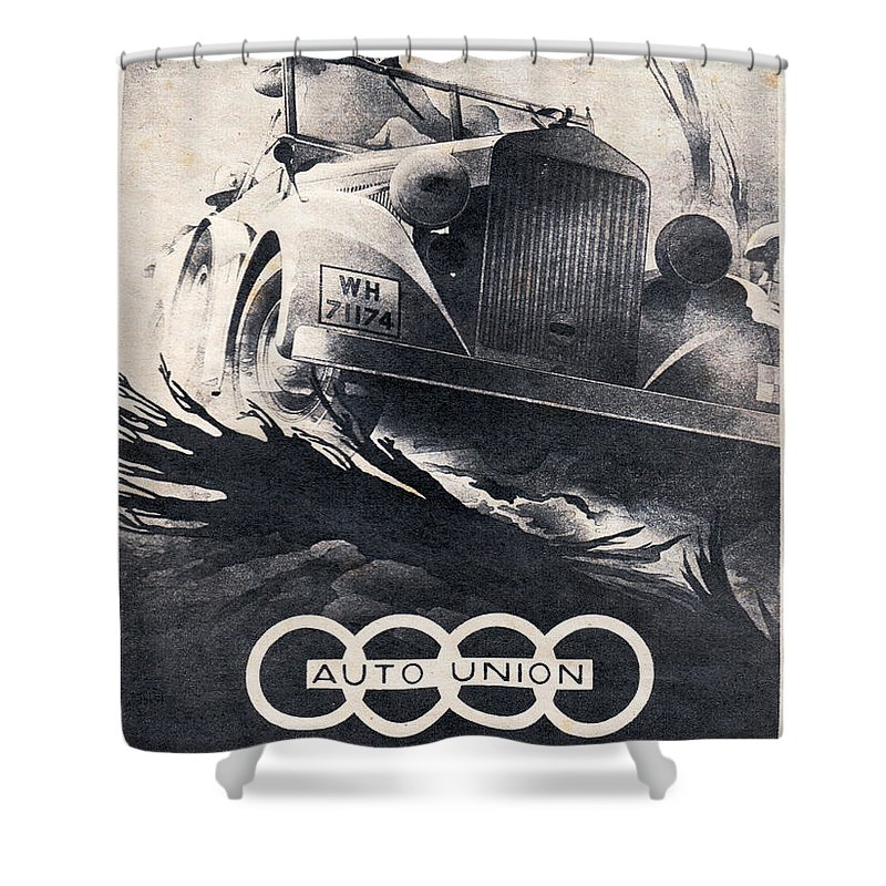 Audi Shower Curtain featuring the drawing Auto Union by Oleg Konin